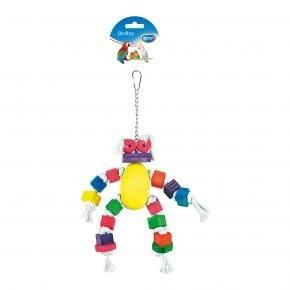 Vogelspeeltje; katonen pop met gekleurde blokken