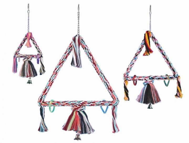Vogelspeeltje triangel van touw groot