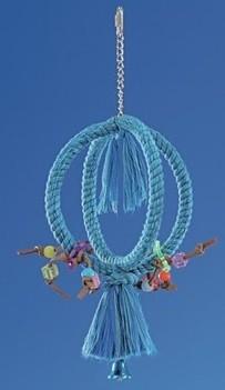 Vogelspeeltje van touw in het blauw