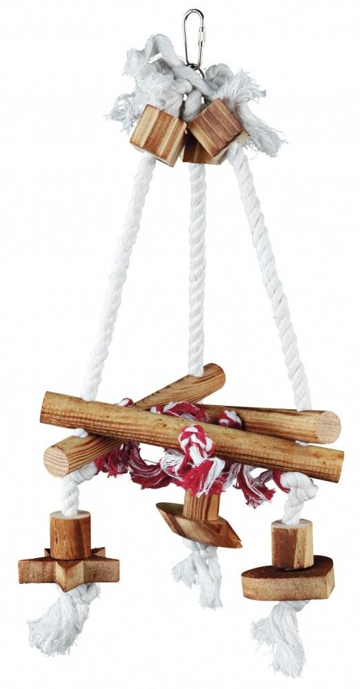 Vogelspeeltje triangel hout met touw