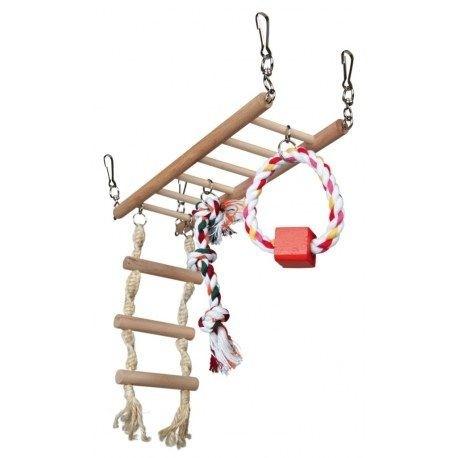 Brug met speeltjes voor knaagdieren en kleine vogels