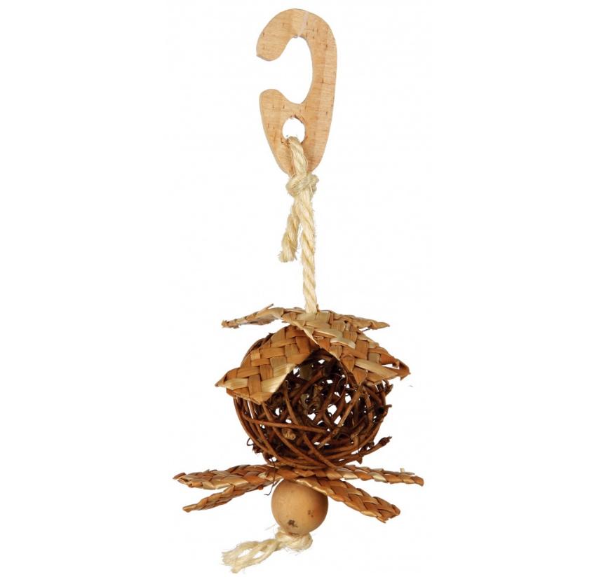 Vogelspeeltje met gevlochten materialen