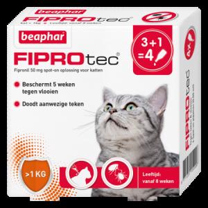 Beaphar Fiprotec Spot-On kat 3+1 pipetten