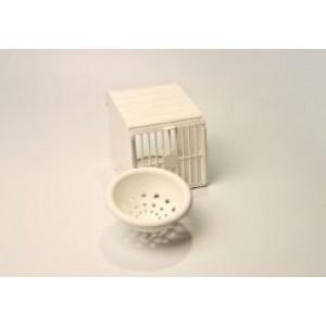 Nestkastje wit inclusief nestje 10 cm